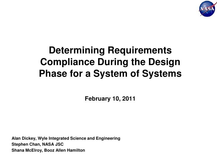 Determining Requirements             Compliance During the Design             Phase for a System of Systems               ...