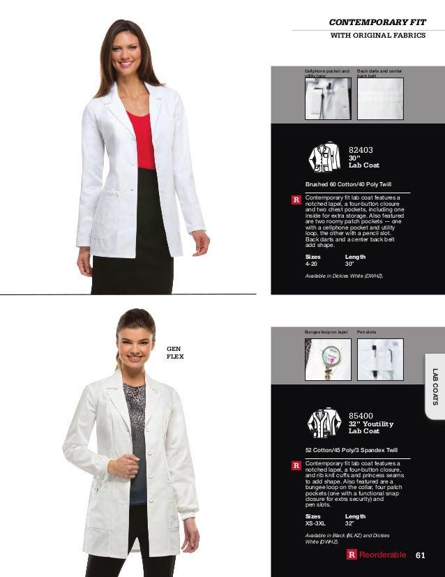 "White Dickies Scrubs EDS Professional 28/"" Lab Coat 84401 DWHZ"