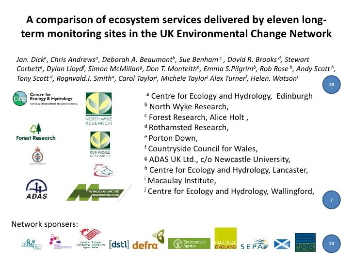 A comparison of ecosystem services delivered by eleven long-  term monitoring sites in the UK Environmental Change Network...
