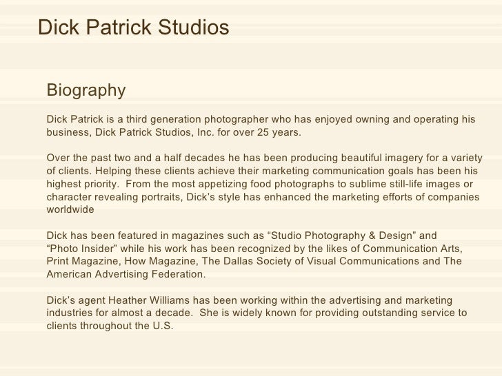 Dick Patrick Biography  Dick Patrick is a third generation photographer who has enjoyed owning and operating his business,...