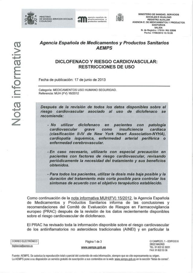 Diclofenaco y riesgo cardiovascular   agencia española de medicamentos y productos sanitarios
