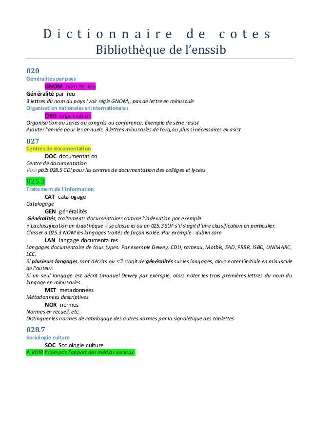 D i c t i o n n a i r e d e c o t e s  Bibliothe que de l'enssib  020  Généralités par pays  GNOM nom de lieu  Généralité ...