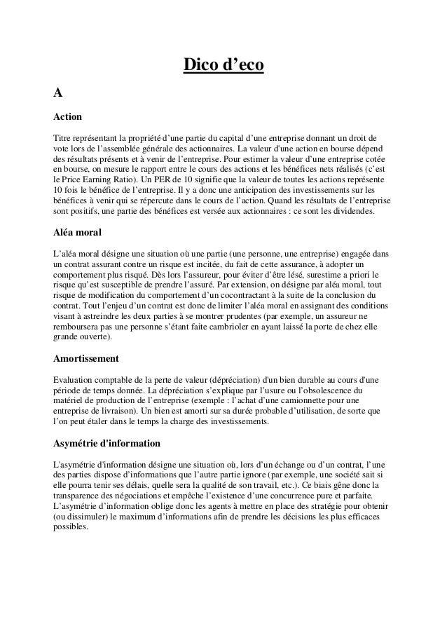 Dico d'eco A Action Titre représentant la propriété d'une partie du capital d'une entreprise donnant un droit de vote lors...