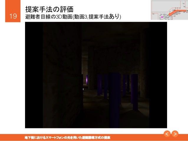 """19! 地下街におけるスマートフォンの光を用いた避難誘導方式の提案"""" 提案手法の評価! 避難者目線の3D動画(動画3,提案手法あり)"""