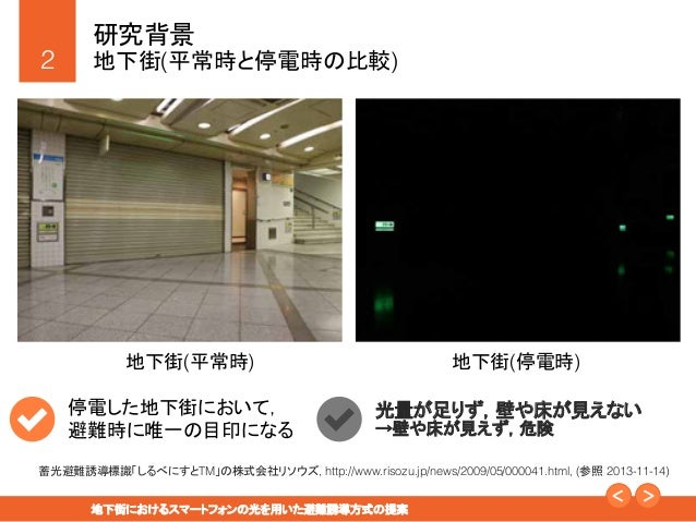 地下街におけるスマートフォンの光を用いた避難誘導方式の提案 Slide 2