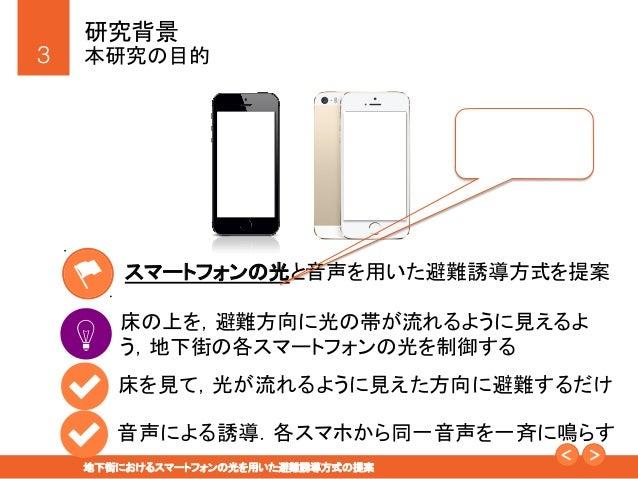 地下街におけるスマートフォンの光を用いた避難誘導方式の提案 Slide 3