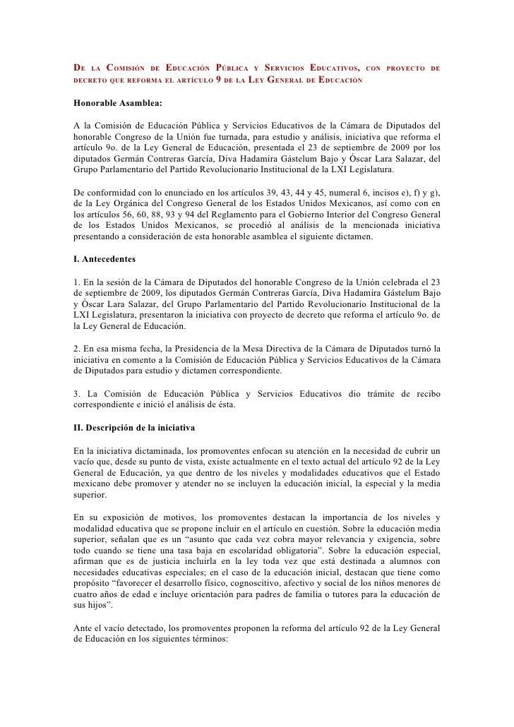 DE   LA   COMISIÓN   DE   EDUCACIÓN PÚBLICA Y SERVICIOS EDUCATIVOS, CON             PROYECTO DEDECRETO QUE REFORMA EL ARTÍ...