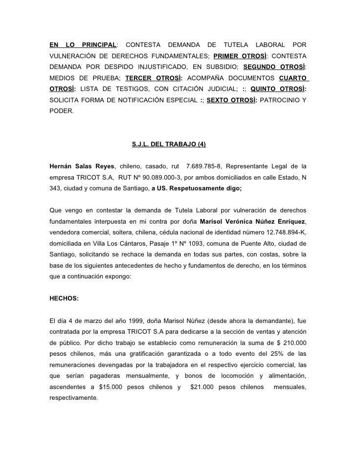 EN   LO    PRINCIPAL:     CONTESTA      DEMANDA        DE   TUTELA    LABORAL      POR VULNERACIÓN DE DERECHOS FUNDAMENTAL...