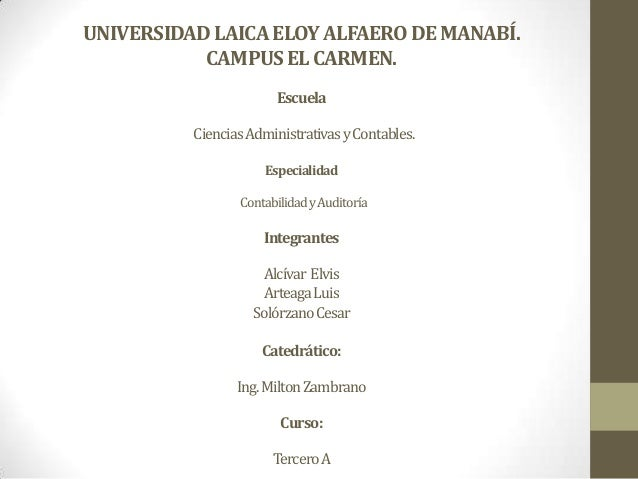 UNIVERSIDAD LAICA ELOY ALFAERO DE MANABÍ. CAMPUS EL CARMEN. Escuela Ciencias Administrativas y Contables. Especialidad Con...