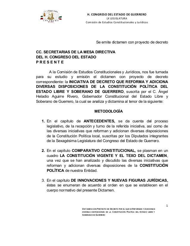 H.  CONGRESO  DEL  ESTADO  DE  GUERRERO     LX  LEGISLATURA   Comisión  de  Estudios  Constitucion...