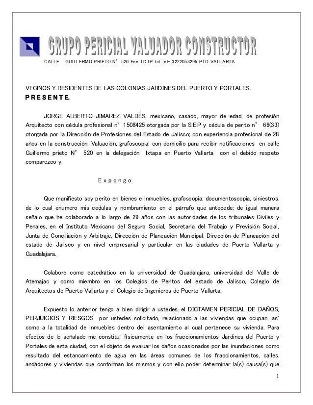 1  CALLE GUILLERMO PRIETO N°520 Fcc. I.D.I.P tel. cl- 3222053295 PTO VALLARTA  VECINOS Y RESIDENTES DE LAS COLONIAS JARDIN...