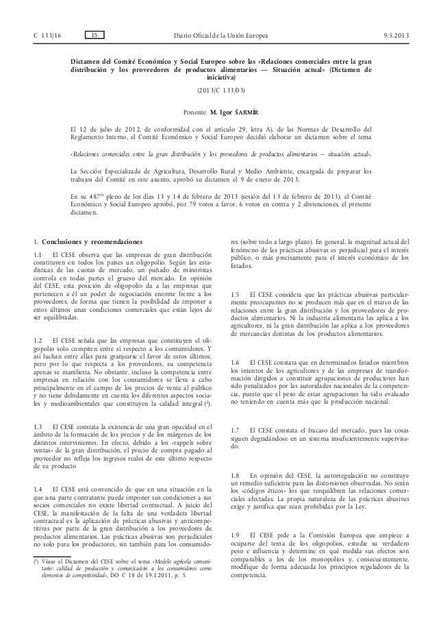 Dictamen del Comité Económico y Social Europeo sobre las «Relaciones comerciales entre la grandistribución y los proveedor...