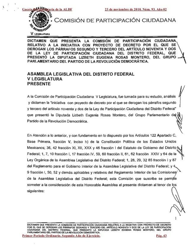 Gaceta Parlamentaria de la ALDF 23 de noviembre de 2010. Núm. 93. Año 02 Primer Periodo Ordinario. Segundo Año de Ejercici...