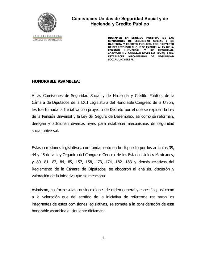 Comisiones Unidas de Seguridad Social y de Hacienda y Crédito Público DICTAMEN EN SENTIDO POSITIVO DE LAS COMISIONES DE SE...