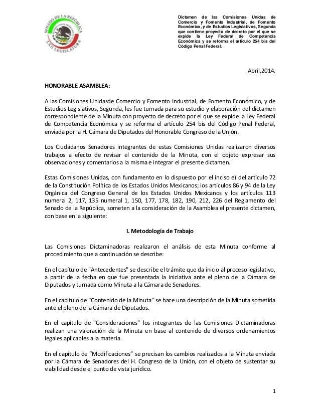 Dictamen de las Comisiones Unidas de Comercio y Fomento Industrial, de Fomento Económico, y de Estudios Legislativos, Segu...