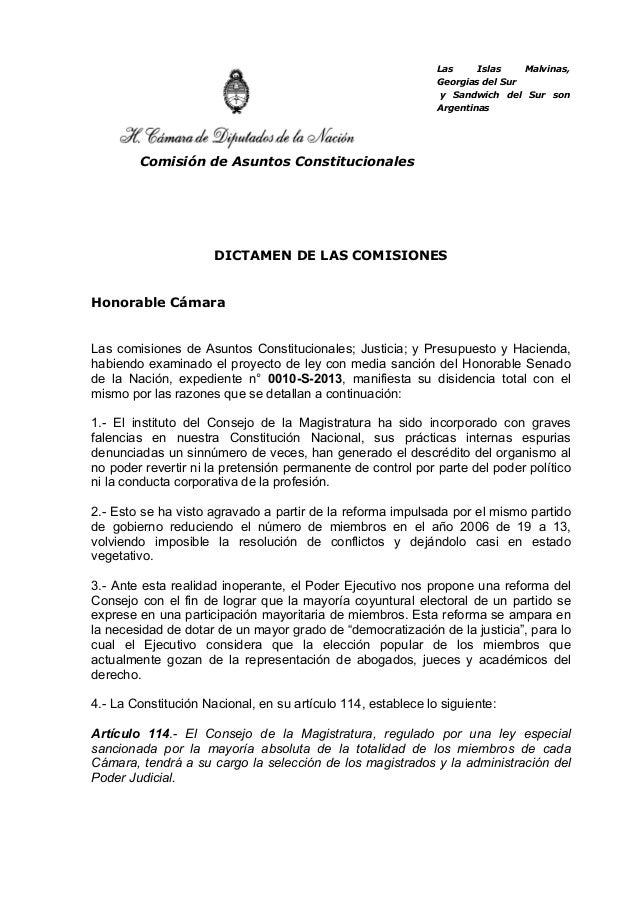 Las Islas Malvinas,Georgias del Sury Sandwich del Sur sonArgentinasComisión de Asuntos ConstitucionalesDICTAMEN DE LAS COM...