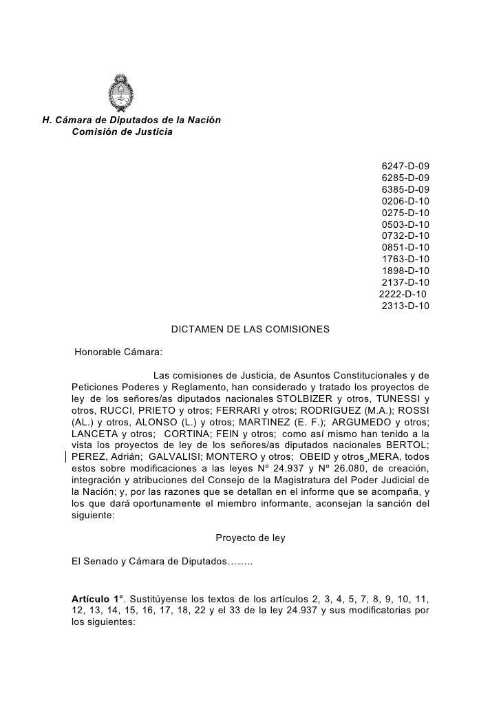 H. Cámara de Diputados de la Nación      Comisión de Justicia                                                             ...