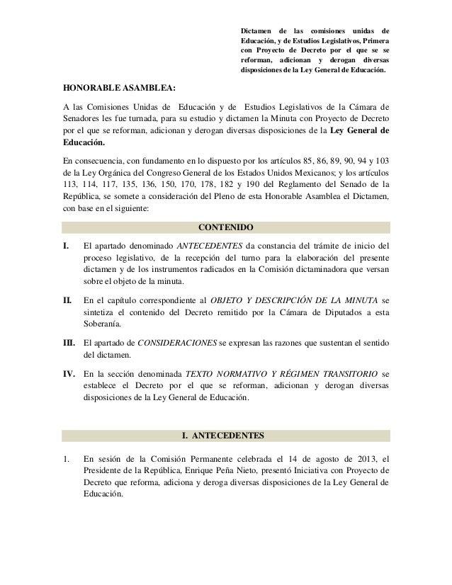 Dictamen de las comisiones unidas de Educación, y de Estudios Legislativos, Primera con Proyecto de Decreto por el que se ...