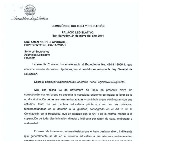 Dictamen numero 81   reforma a la ley general de educación