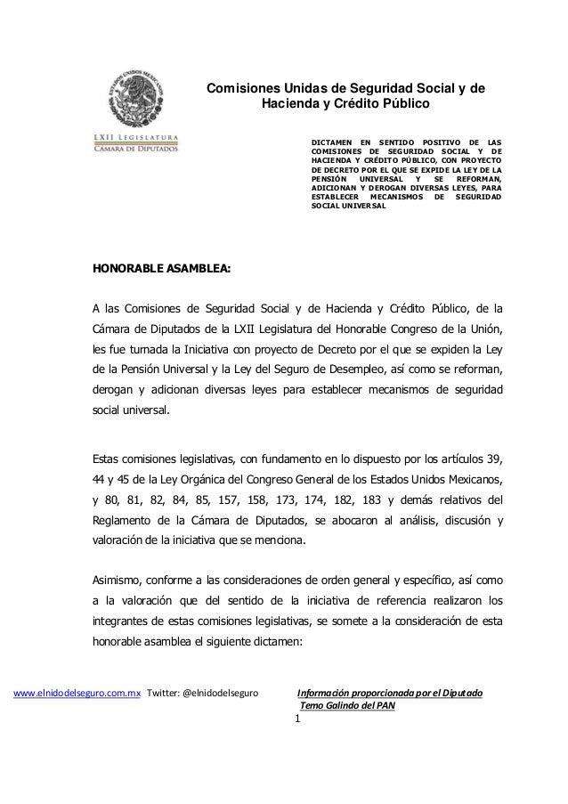 Comisiones Unidas de Seguridad Social y de Hacienda y Crédito Público www.elnidodelseguro.com.mx Twitter: @elnidodelseguro...