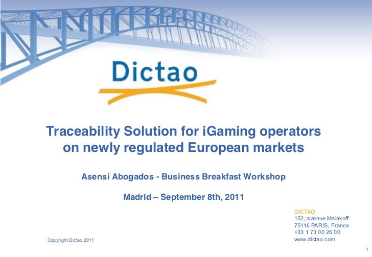 Traceability Solution for iGaming operators  on newly regulated European markets               Asensi Abogados - Business ...