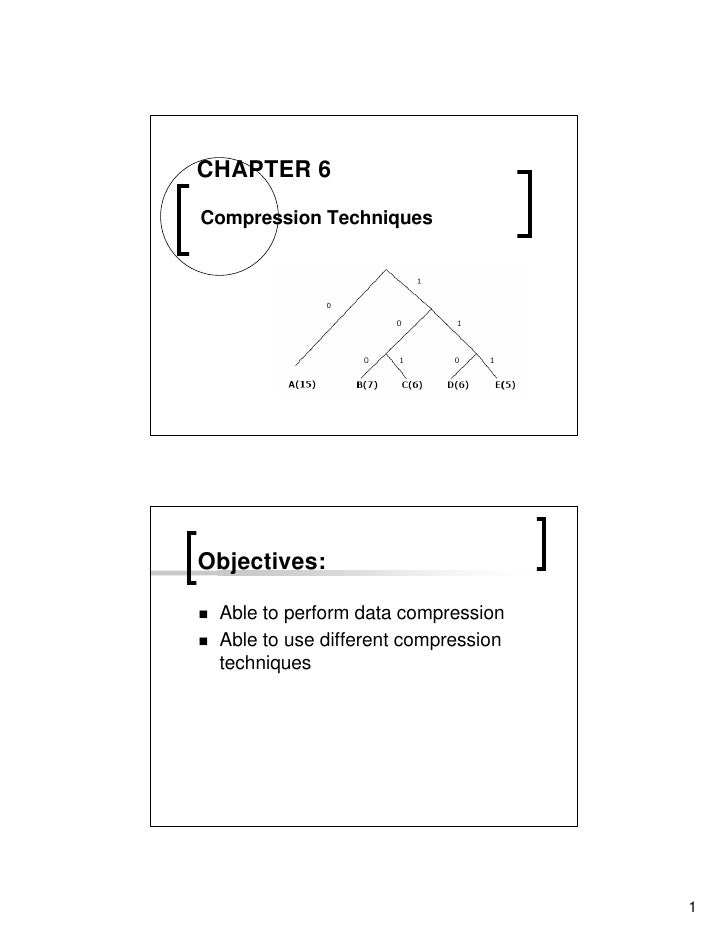 CHAPTER 6  Compression Techniques     Objectives:   Able to perform data compression  Able to use different compression  t...