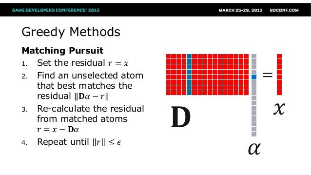 Orthogonal Matching Pursuit (OMP) ● Add an Orthogonal Projection to the residual calculation 1. set 𝐼 ∶= ∅ , 𝑟 ≔ 𝑥, 𝛾 ≔ 0 ...