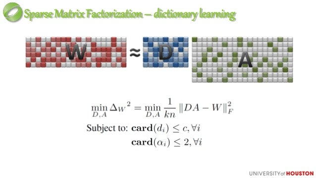 SparseMatrixFactorization c=max{card(wi)}+1 n is very large card(A)=2n→min