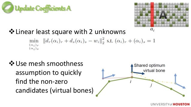 Analysis of Two-Layer Scheme ● Use 100's of virtual bones means we are not limited to a sparse approximation to the origin...