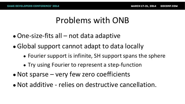 Problems with ONB ● One-size-fits all – not data adaptive ● Global support cannot adapt to data locally ● Fourier support ...