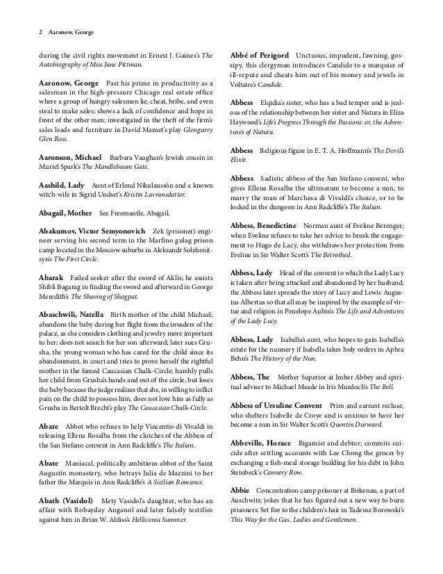 Dictionary of literary characters abel james 11 fandeluxe Gallery