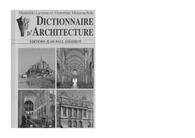 Dictionnaire d 39 architecture for Dictionnaire architecture