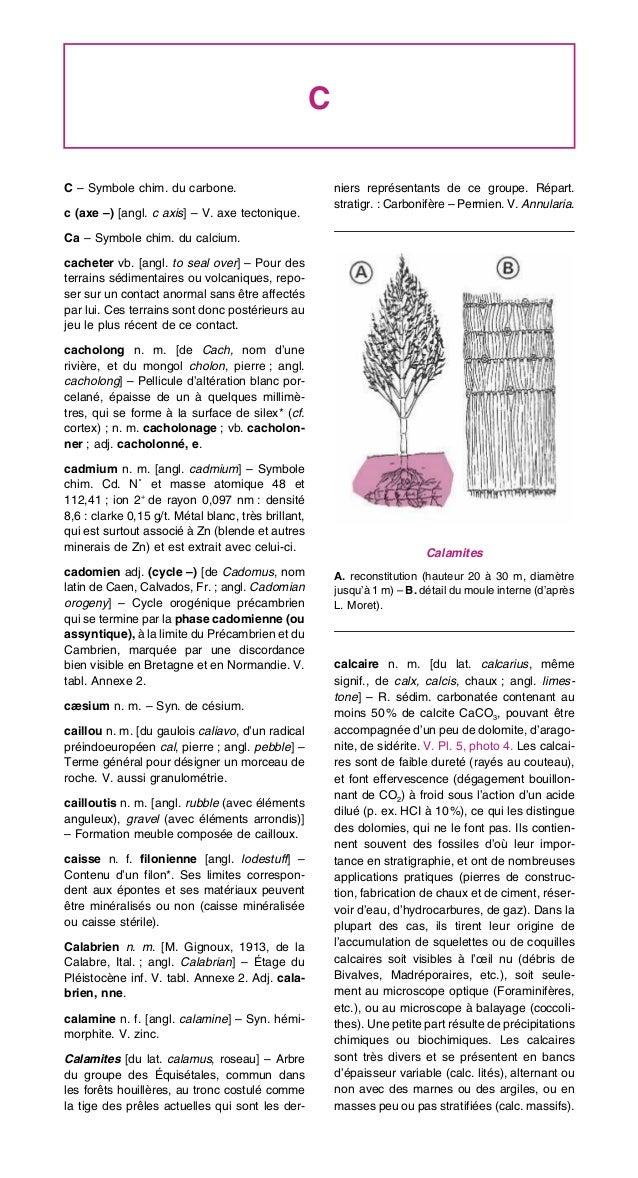 C C – Symbole chim. du carbone. c (axe –) [angl. c axis] – V. axe tectonique. Ca – Symbole chim. du calcium. cacheter vb. ...