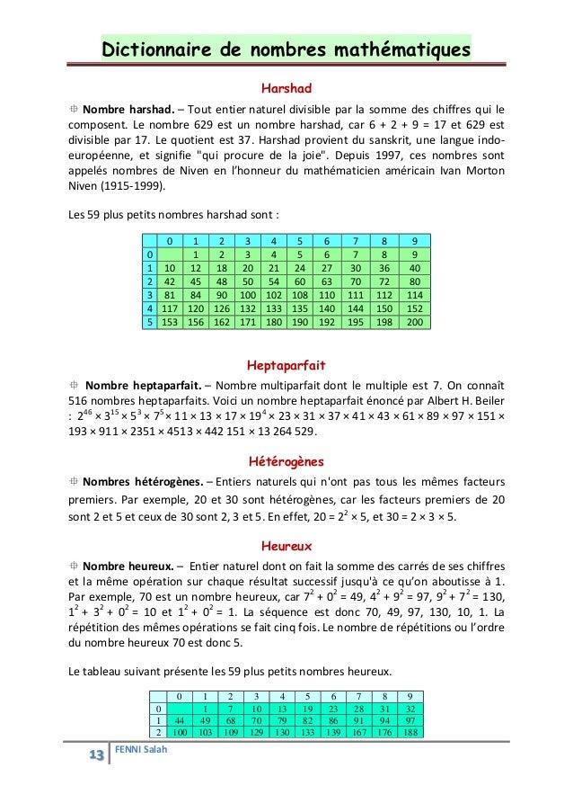 Dictionnaire de math matiques for Nombre 13 signification