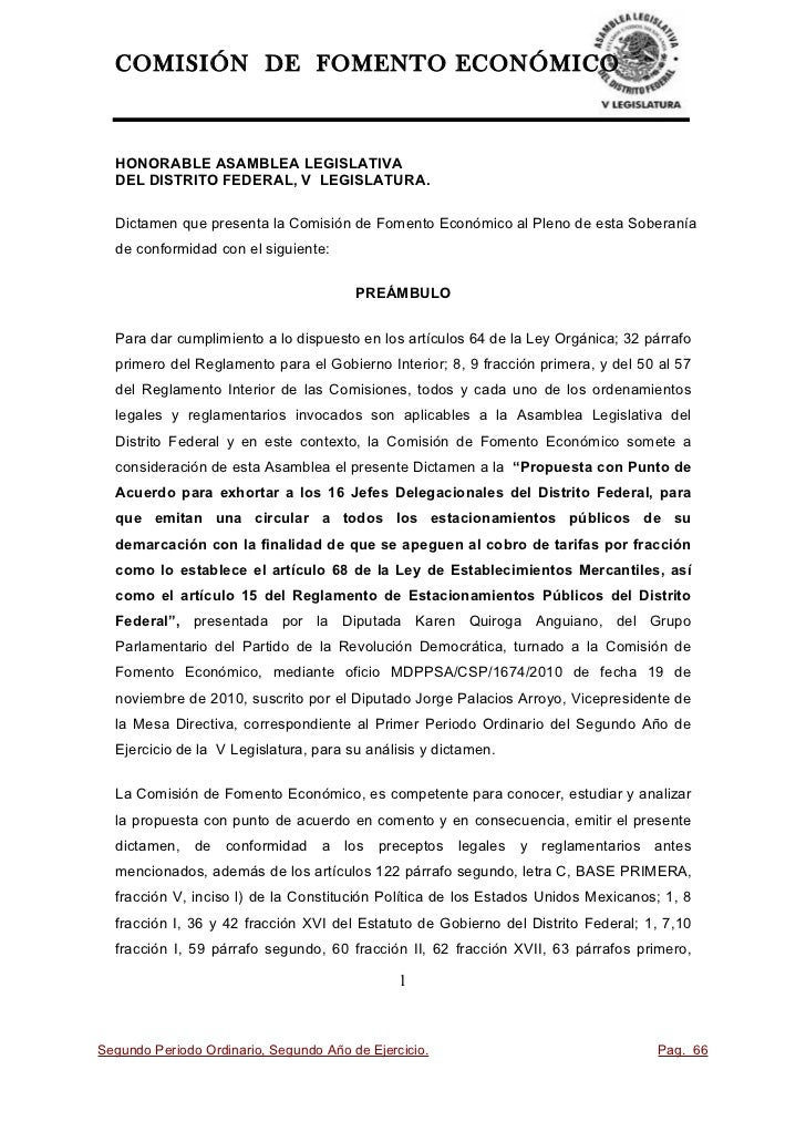 COMISIÓN DE FOMENTO ECONÓMICOHONORABLE ASAMBLEA LEGISLATIVADEL DISTRITO FEDERAL, V LEGISLATURA.Dictamen que presenta la Co...