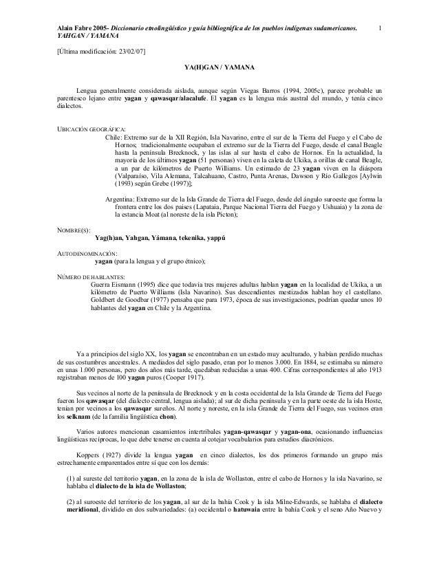 Alain Fabre 2005- Diccionario etnolingüístico y guía bibliográfica de los pueblos indígenas sudamericanos.  YAHGAN / YAMAN...