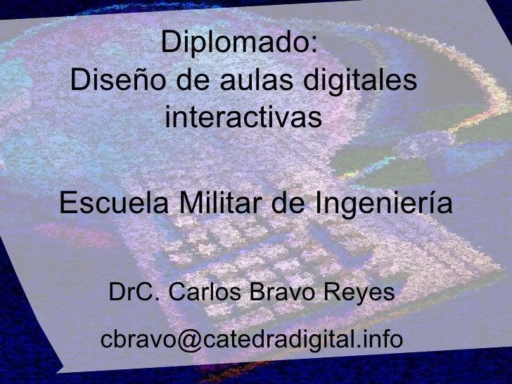 Diplomado:  Diseño de aulas digitales interactivas DrC. Carlos Bravo Reyes [email_address] Escuela Militar de Ingeniería