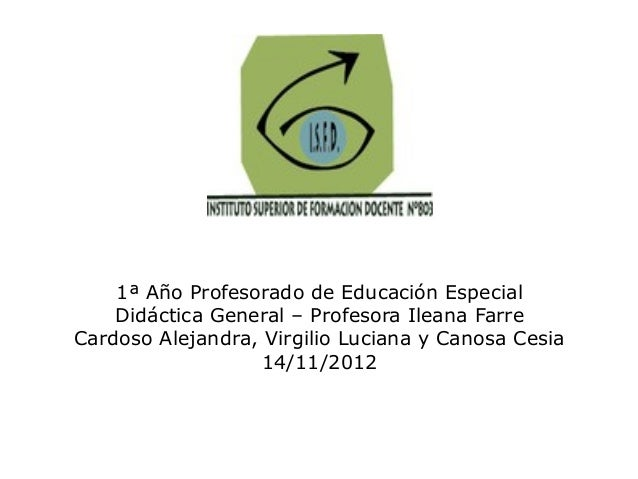 1ª Año Profesorado de Educación Especial    Didáctica General – Profesora Ileana FarreCardoso Alejandra, Virgilio Luciana ...