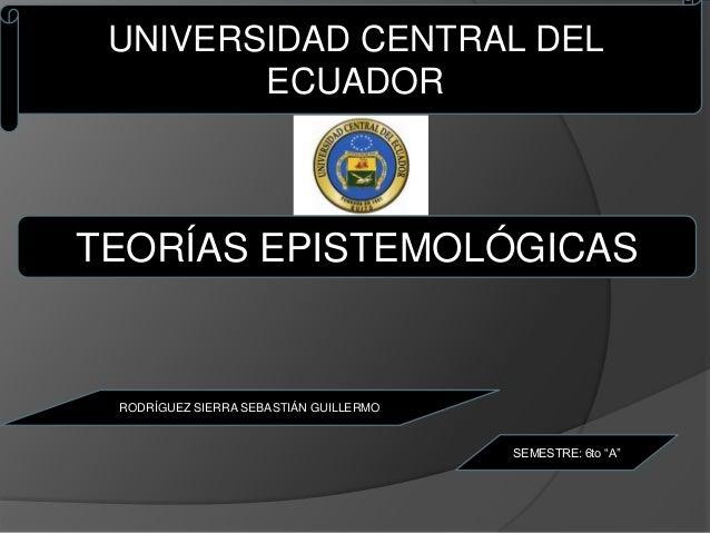 UNIVERSIDAD CENTRAL DEL        ECUADORTEORÍAS EPISTEMOLÓGICAS RODRÍGUEZ SIERRA SEBASTIÁN GUILLERMO                        ...
