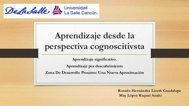 Aprendizaje desde la perspectiva cognoscitivsta Aprendizaje significativo. Aprendizaje por descubrimiento Zona De Desarrol...