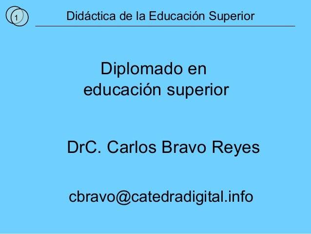 1 Didáctica de la Educación Superior Diplomado en educación superior DrC. Carlos Bravo Reyes cbravo@catedradigital.info