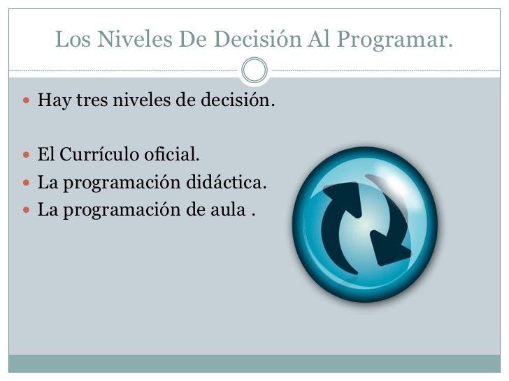 Los Niveles De Decisión Al Programar. Hay tres niveles de decisión. El Currículo oficial. La programación didáctica. L...