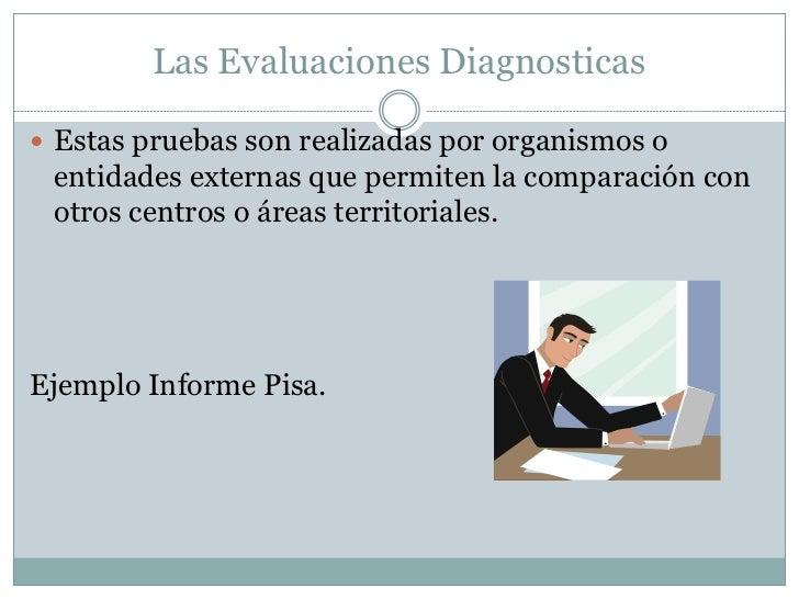 Las Evaluaciones Diagnosticas Estas pruebas son realizadas por organismos o entidades externas que permiten la comparació...