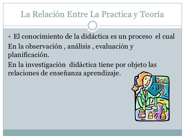 La Relación Entre La Practica y Teoría El conocimiento de la didáctica es un proceso el cualEn la observación , análisis ...