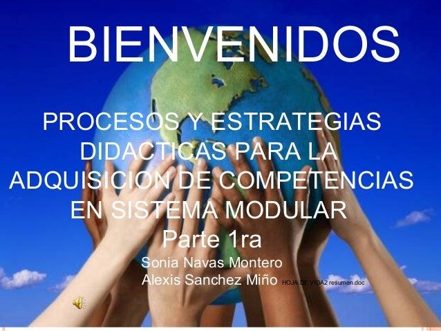 PROCESOS Y ESTRATEGIAS DIDACTICAS PARA LA ADQUISICION DE COMPETENCIAS EN SISTEMA MODULAR Parte 1ra Sonia Navas Montero Ale...