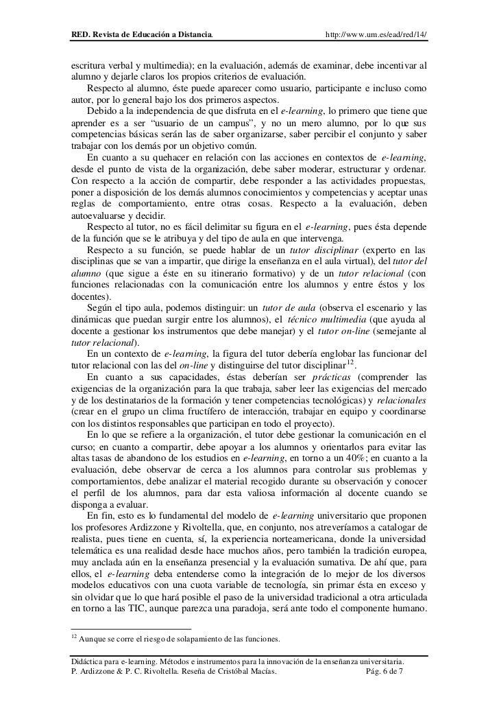 RED. Revista de Educación a Distancia.                                     http://www.um.es/ead/red/14/escritura verbal y ...