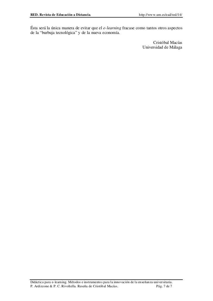 RED. Revista de Educación a Distancia.                                     http://www.um.es/ead/red/14/Ésta será la única ...