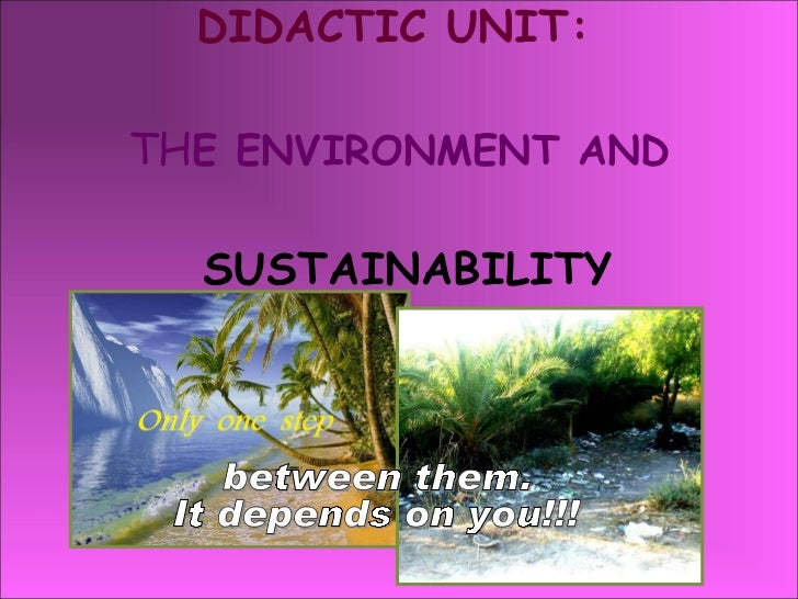 DIDACTIC UNIT:   TH E ENVIRONMENT AND   SUSTAINABILITY between them. It depends on you!!!