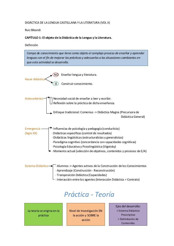 DIDÁCTICA DE LA LENGUA CASTELLANA Y LA LITERATURA (VOL II)Ruiz BikandiCAPÍTULO 1: El objeto de la Didáctica de la Lengua y...