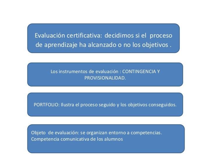 Evaluación certificativa: decidimos si el proceso de aprendizaje ha alcanzado o no los objetivos .        Los instrumentos...